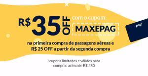 MaxMilhas / Cartão Pag! - R$35 OFF + R$25 OFF