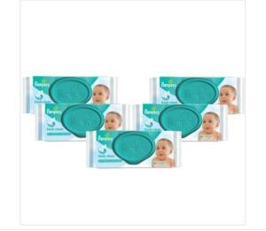 (Carrefour Mercado BH) Kit 5 lenços umedecidos Pampers