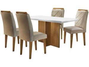 Mesa de Jantar 4 Cadeiras Retangular Rufato - Berlim Melis | R$855