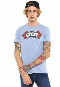 Camiseta Ride Skateboard Manga Curta Estampada Azul
