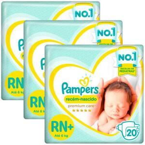 Fralda Pampers Premium Care RN+ - Kit com 60 Unidades