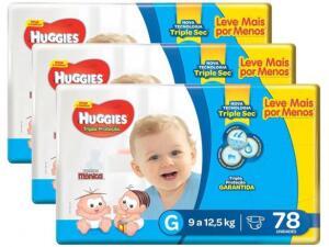 Kit fraldas Huggies Tripla Proteção Tam G - 3 pacotes com 78 unidades cada