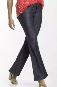 Calça jeans feminina flare petit em tecido de algodão folha - Chumbo