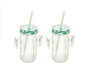 Jogo de Canecas de Suco de Vidro - Transparente e Verde com Tampa Lyor Cactos 2 Peças R$ 18