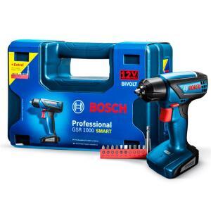 """Parafusadeira Bosch 2/1"""" à Bateria 12v GSR 1000 Smart R$ 219"""