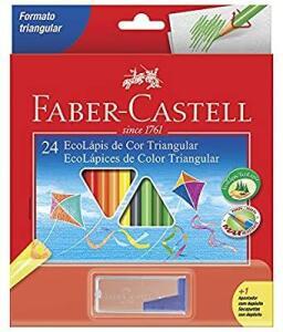 [Prime] Lápis de Cor EcoLápis Triangular 24 Cores e 1 Apontador com Depósito,