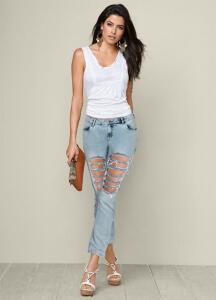 Calça Jeans Destroyed Azul Claro