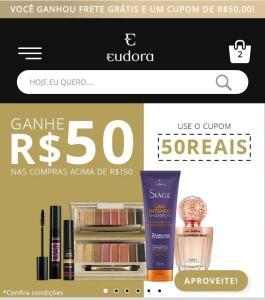 50 reais de desconto nas compras acima de 150 reais em produtos Eudora