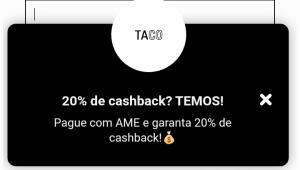 Loja Taco 20% cashback com AME + frete grátis (RJ)