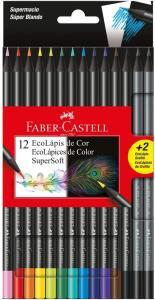 [Prime] Ecolápis de Cor Supersoft 12 + 2, Faber-Castell, Mista, Pacote de 1 R4 13