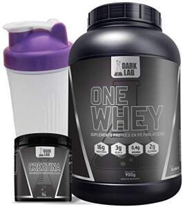 Kit One Whey Protein 900g Baunilha + Creatina 100g + Coqueteleira Roxa Dark Lab