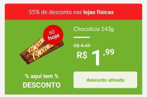 (APP Retirar na loja)Biscoito Recheado Chocolicia Chocolate Nabisco - 143g