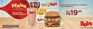[Bob's Fã] Sanduíche + Batata Canoa + Free Refil de Refrigerante + Milk Shake
