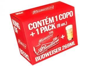 Kit Cerveja Budweiser American Standard Lager - 269ml Cada 8 Unidades com 1 Copo R$ 22