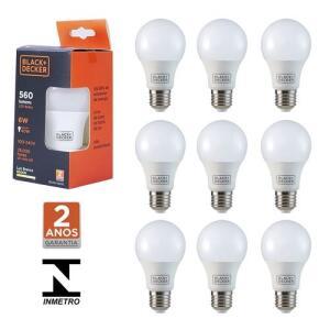 Kit 10 lâmpadas led bulbo 6 watts 560 lúmens branca bivolt 110V/220V R$ 60