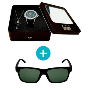 Kit Promocional: Relógio Dumont + Brinde: Crucifixo + Óculos de Sol. R$ 161,91