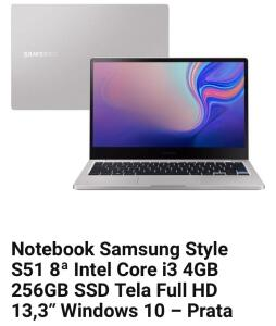 Notebook Samsung Style S51 8ª Intel Core i3 4GB 256GB SSD
