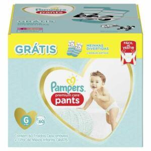 Fralda Pampers Premium Care Pants Tamanho G 60 tiras - grátis 1 par de meias