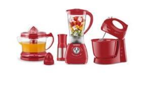 Conjunto Especial Mondial Gourmet Red II (Espremedor Premium + Batedeira Power Prática Red + Liquidificador Power Red Filter)