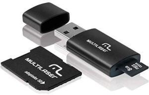 [Frete Prime] Kit 3 em 1 Pendrive + Adaptador SD + Cartão De Memória 8GB Multilaser - R$23