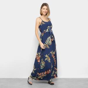 Vestido Longo Lily Fashion Evasê Floral Amarração - Marinho R$48