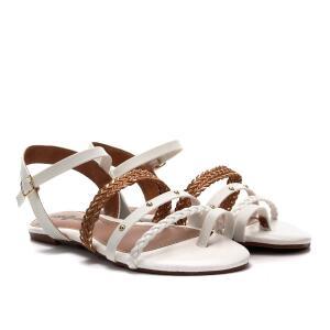 Rasteira Look Fashion Multi Tiras Cravinhos - Branco | R$24