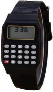 Relógio Digital Calculadora Calendário Hora Cor Preto Nostalgia Retrô
