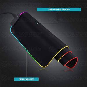 Mouse Pad Gamer com Borda de LED 350x250x3mm 14 Modos