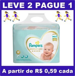 Fralda Pampers Premium Care M - 160 fraldas