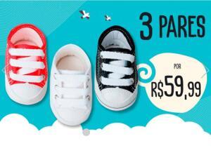 3 Pares de Sapato Infantil por R$59,99 na loja Bebê Fofuxo