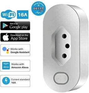 Tomada Tuya Smart WiFi Plug Inteligente Brasileiro 16A Bivolt (Alexa, Google Home)