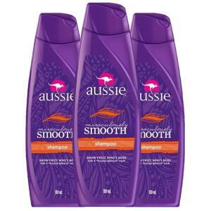 Kit com 3 Shampoos Aussie Miraculously Smooth 180ml
