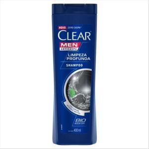 [3 UNIDADES] Shampoo Anticaspa Clear Men Limpeza Profunda 400 Ml