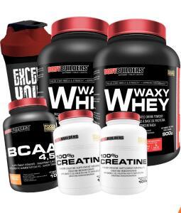 Kit 2x whey protein 900g + 2x creatina + Bcaa 4,5 Shaker+