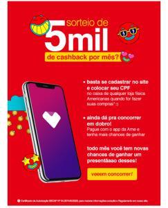 [Lojas Americanas] SORTEIO DE R$5MIL DE CHASHBACK