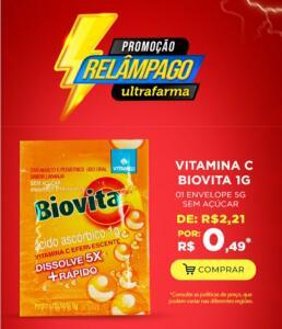 Vitamina C Biovita 1G por 0,50 centavos | Ultrafarma