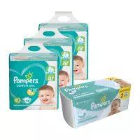 Kit Pampers - Fralda XG Confort Sec Super 174 UN + 2 Pct Lenço Umedecido Fresh Clean 96 UN