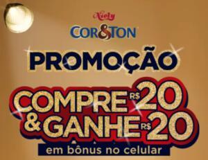Promoção Cor &Ton: Compre R$20 em produtos Cor&Tom e ganhe R$20 em bônus no celular!