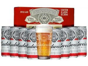 Kit Cerveja Budweiser American Standard Lager 269ml Cada - 8 Unidades com 1 Copo