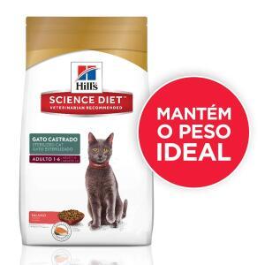 Ração Hill's Science para Gatos Adultos Castrados sabor salmão - 1,5kg