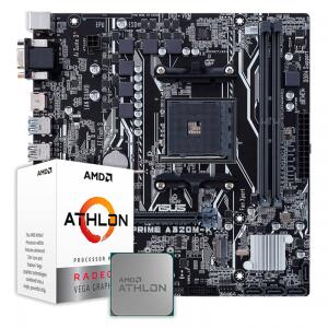 Kit Upgrade Processador AMD Athlon 3000G 3.5GHz + Placa Mãe Asus Prime A320M-K, AMD AM4