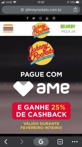 AME - 25% de cashback no Johnny Rockets