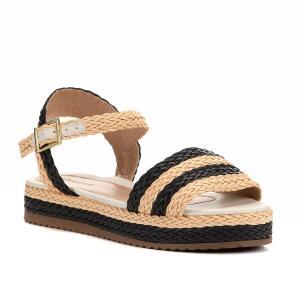 Sandália Shoestock Flatform Trança Feminina - Bege e Preto | R$43