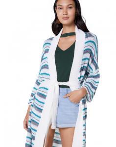 Kimono AMARO Tricot Listras Listras Verde R$70