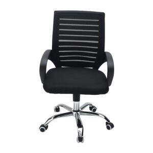 Cadeira Diretor c/ Encosto Telado e Pés Cromados - Preta R$180