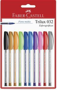 Caneta Trilux Colors, Faber-Castell, SM/032ESC10, Multicor, Pacote de 10