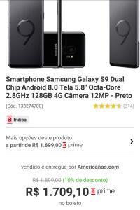 Samsung galaxy s9 128gb R$1709,10 no boleto pelo APP Americanas