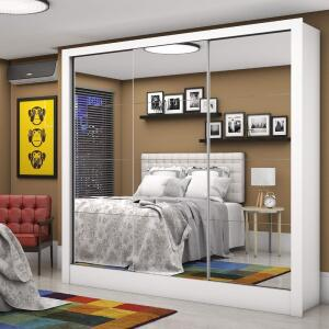 Guarda Roupa Casal 3 Portas com Espelho Santiago Premium Siena Móveis Branco