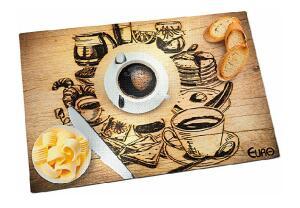 3 Tabua De Vidro Para Cortes Cafe 30 Cm Euro Decorado.