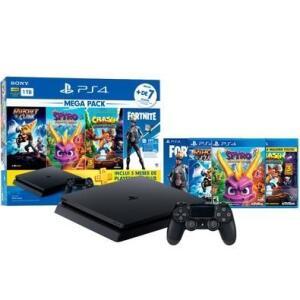 Console Sony Playstation 4 Hits Bundle Mega Pack 8, 1TB - Ratchet e Clank + Spyro + Crash Bandicoot + Voucher Fortnite Neo Versa